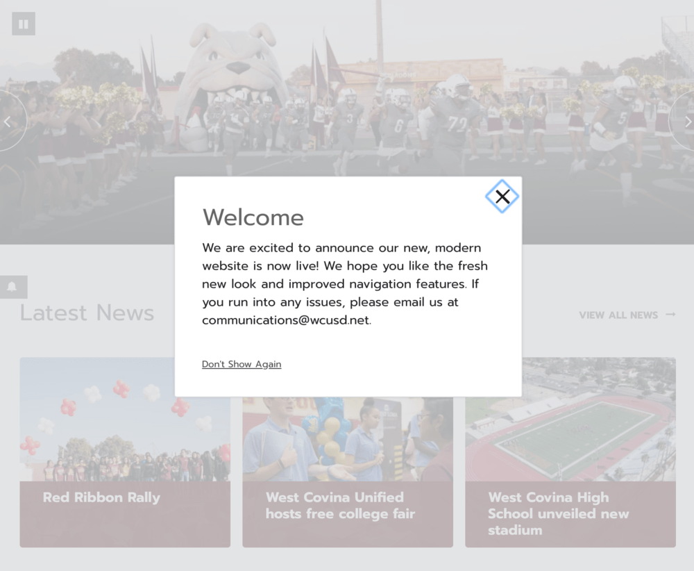 West Covina High School has a new website